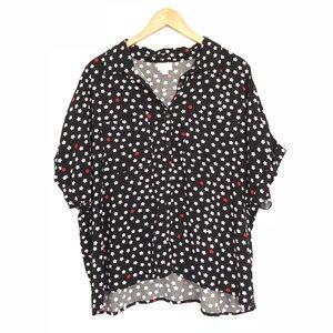 LuLaRoe Star Print Amy Button Up Blouse EUC